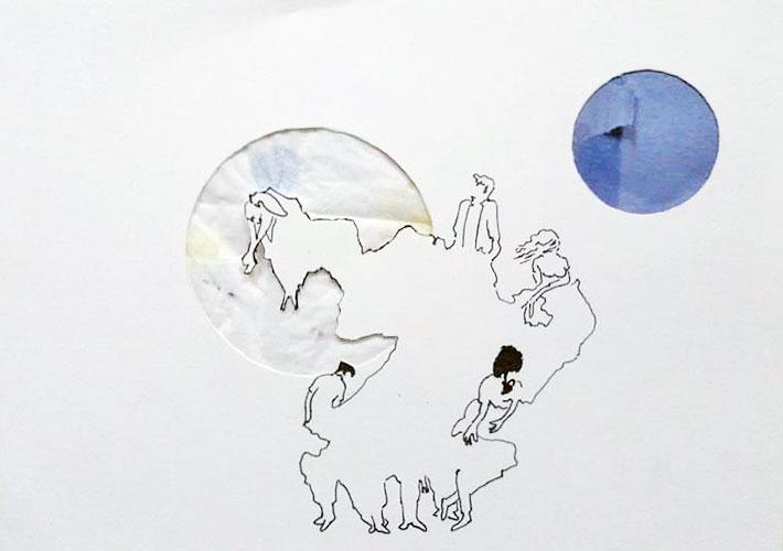 Rob Strick, z.t., fineliner en collage op papier, 10,4 x 14,8 cm, € 229,-