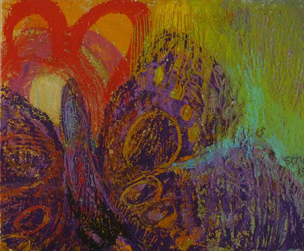 Maartje Strik, Vlinder (gevallen), soft en oliepastel, 9,5 x 11,5 cm, € 350,-