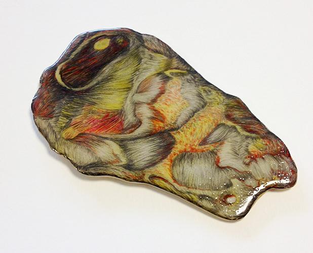 Ariena Roode, Corpus Arenae, tekening op hout, epoxy, 11 x 18 cm, € 350,-
