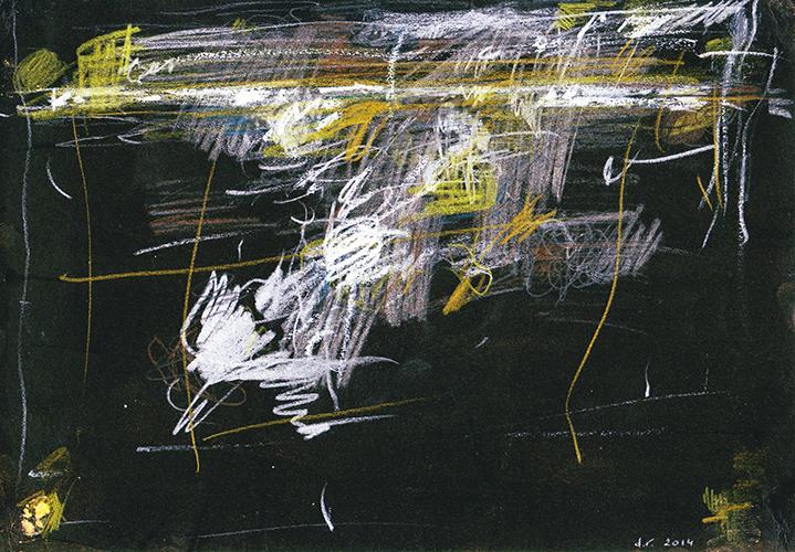 Danielle Vidal, Uit de serie: Voyage au bout du jour kleurpotlood op gekleurd papier 21 x 29,7 cm € 350,-