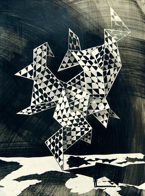 Lenneke van der Goot, Origami Sculpture, gemengde techniek op papier, 40 x 30 cm, € 742,-