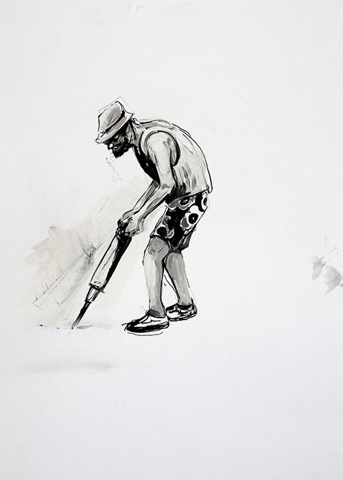 Frans van Tartwijk, Werkvakantie, gemengde techniek op papier, 38 x 28 cm, € 275,-