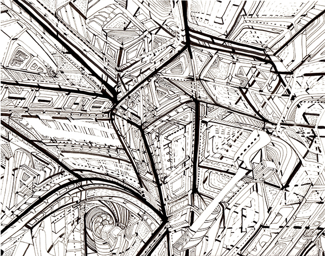 Kim Habers, untitled, inkt op papier, 24 x 30 cm