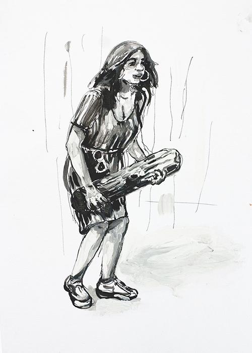 Frans van Tartwijk, Werkvakantie, gemengde techniek op papier, 33 x 23,5 cm, € 275,-