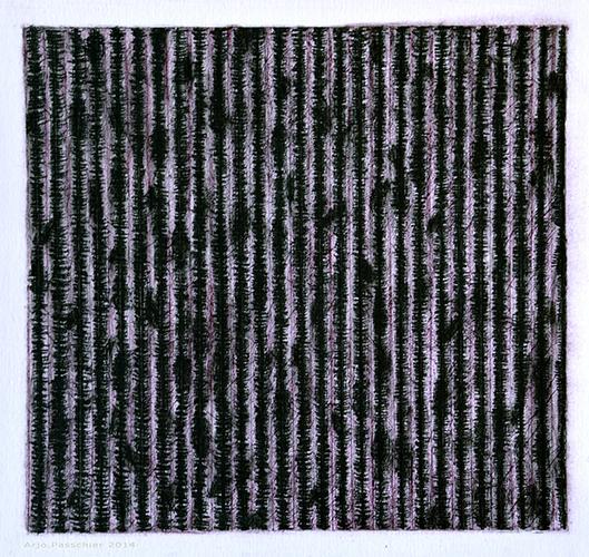 Arjo Passchier, z.t., Pastel, conté, houtskool en bijenwas op papier, 29,5 x 29,5 cm, € 275,-