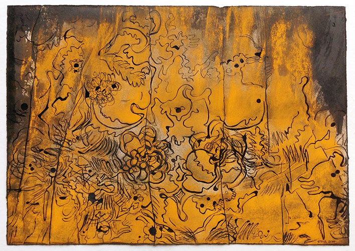 Allie van Altena - z.t. houtskool/pastel/Oostindische inkt op papier 29,7 x 42 cm € 385,-