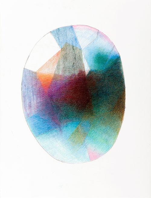 Barbara Helmer - Turkoois kleurpotlood op papier 32 x 24 cm € 290,-