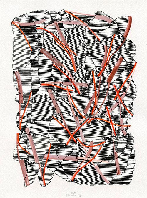 Bernadette Beunk - z.t. aquarel met inkt op papier 24 x 18 cm € 600,-