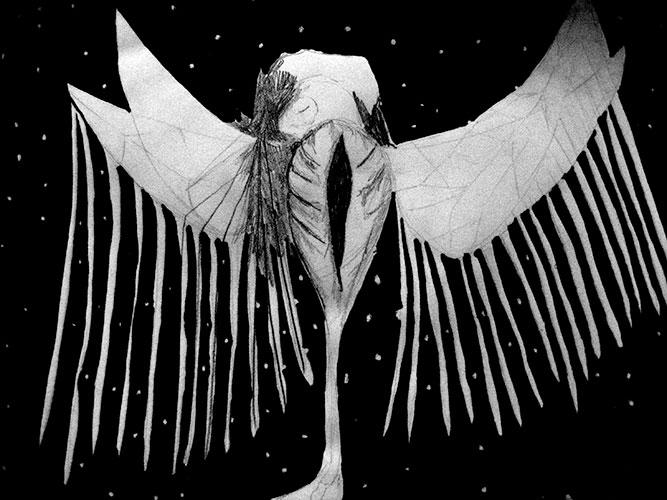 Cornelie Samsom - Space bird potlood en Oostindische inkt op papier 25 x 25 cm € 212,-