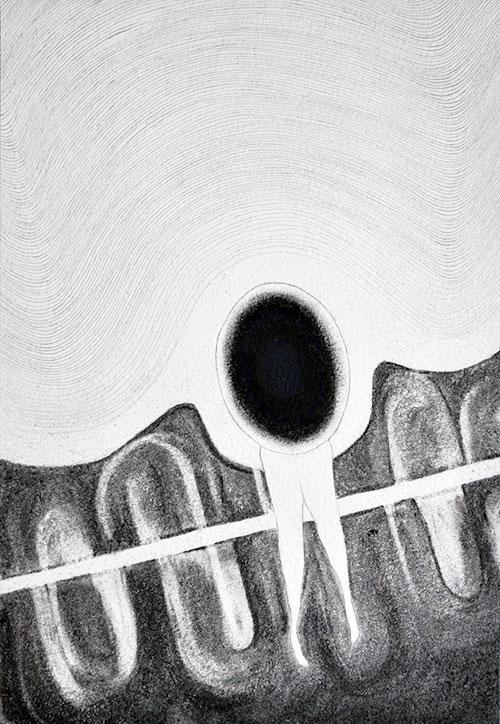Daphne Riedijk - Cell Evation houtskool, conté, potlood op papier 31 x 21 cm € 170,-