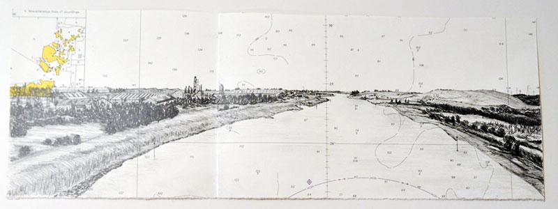 Ellen Palsgraaf - King's Lynn UK tekening op zeekaart 15 x 42 cm € 250,-