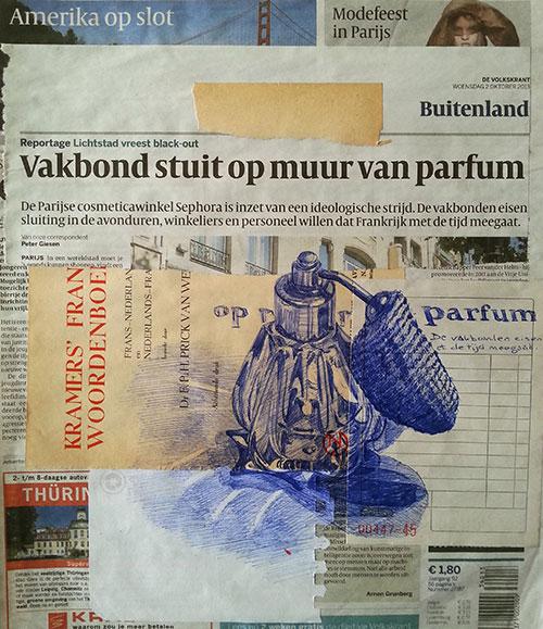 Ellen van Putten - Parfum Bic-pen op krantenpapier 23 x 22 cm € 350,-