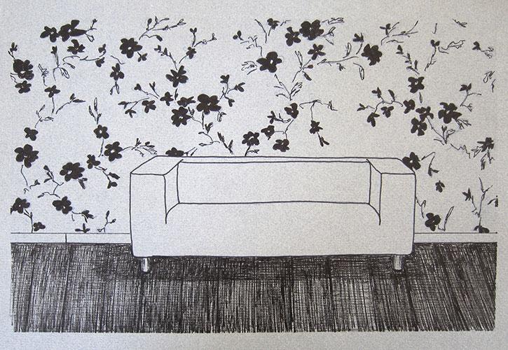 Erica Scheper - Klippan inkt op (grijs) papier 20 x 29 cm € 250,-