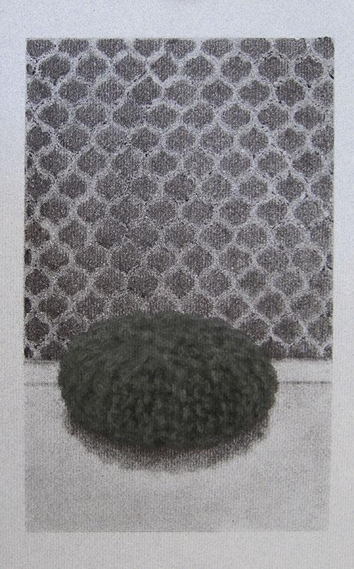 Erica Scheper - Urchin poef houtskool en soft pastelkrijt op (grijs) papier 30 x 19 cm € 250,-