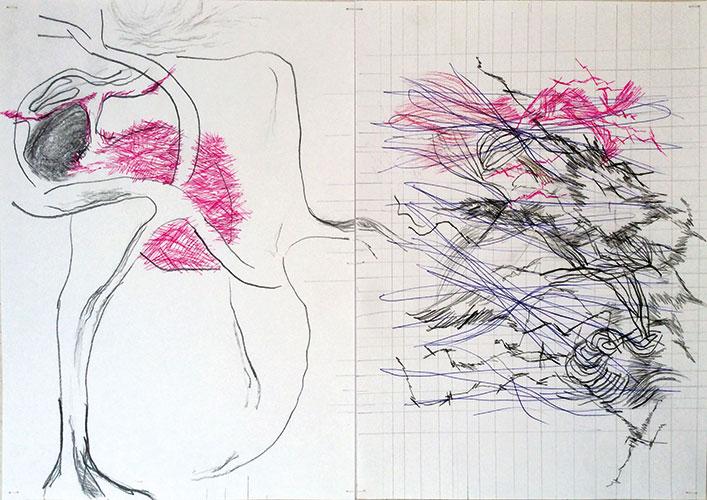 Floor Leemans - Recycling image (kleur)potlood en balpen op papier 30 x 42 cm € 375,-
