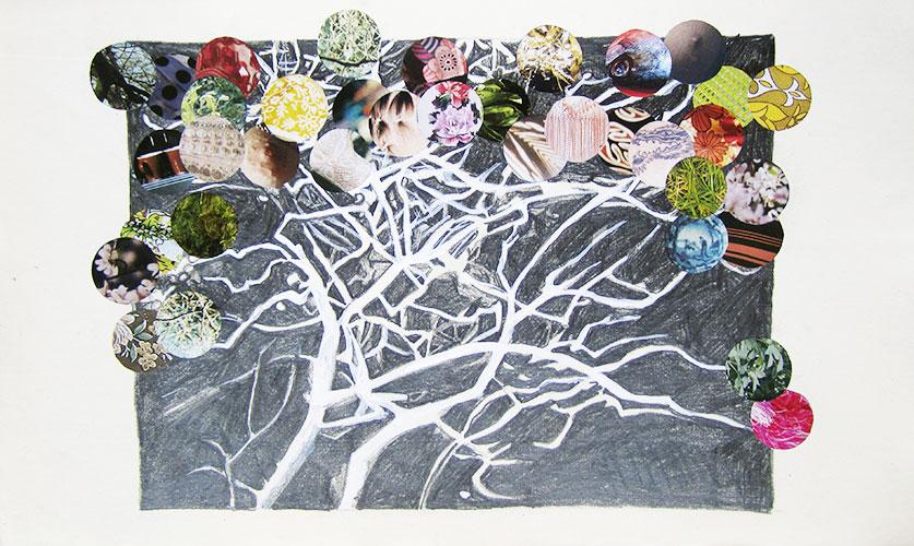 Gabrielle Kroese - Dromenland potlood, acryl en collage op oud papier 21,3 x 34,5 cm € 375,-