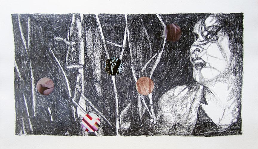 Gabrielle Kroese - Nachtmerrie potlood en collage op oud papier 21 x 34,3 cm € 375,-