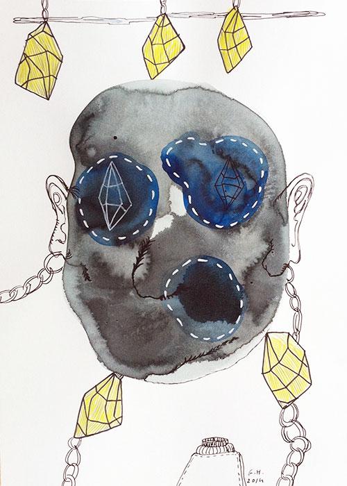 Gerben Hermanus - Blinky eyes inkt en pen op papier 29,6 x 21 cm € 250,-