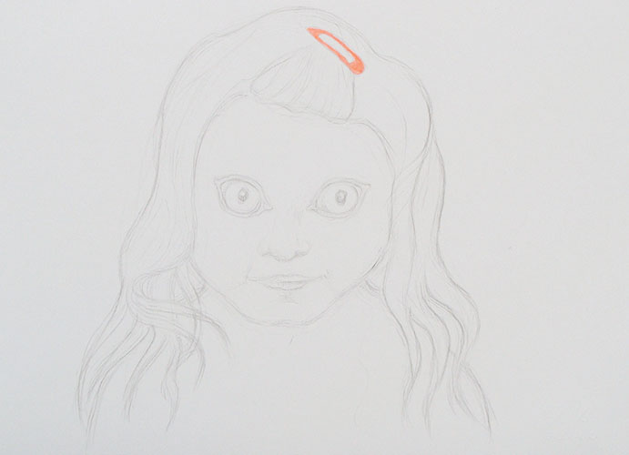 Gerdien Kroes - Meisje met wolfsogen krijt en viltstift op papier 24 x 33 cm € 450,-