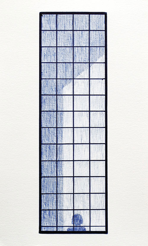 Hannie van Dalen - z.t. blauwe bic ballpoint / aquarelpapier 23 x 14 cm € 250,-