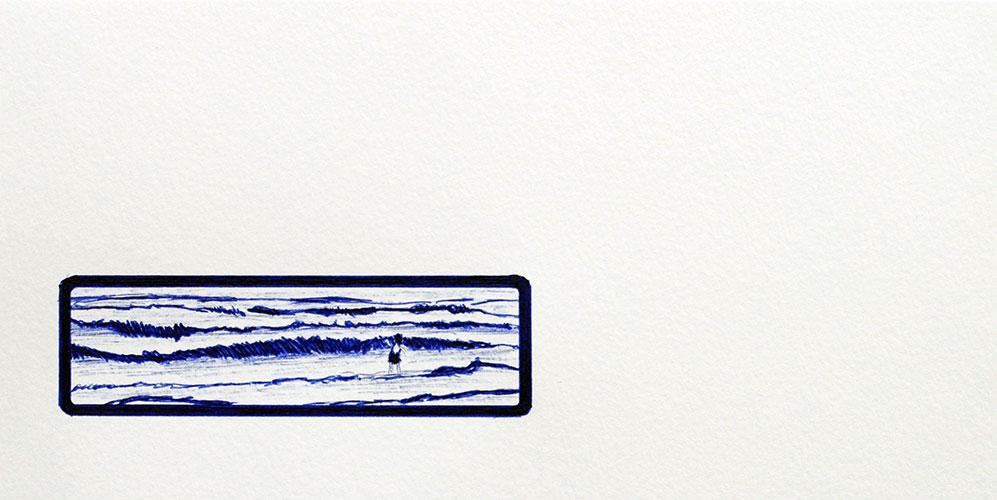 Hannie van Dalen - Respect III blauwe bic ballpoint / aquarelpapier 11 x 22 cm € 235,-