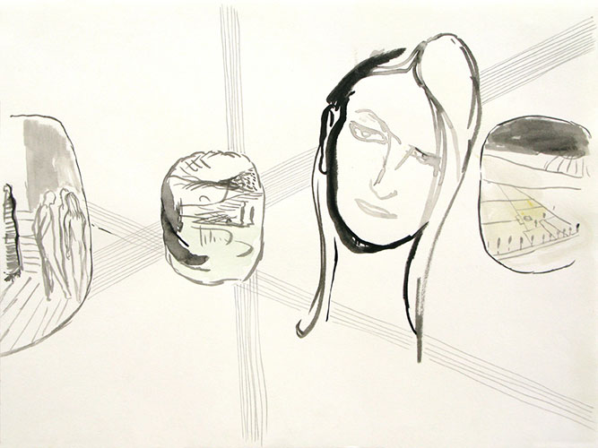 Helga Kos - Dagboekaantekening 05/herinnerend 799 inkt en aquarel op papier 25 x 33 cm € 395,-