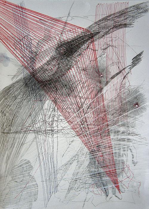 Hinke Bruinsma - z.t. (kleur)potlood, Oostindische inkt, acrylinkt op papier 41 x 29 cm € 150,-