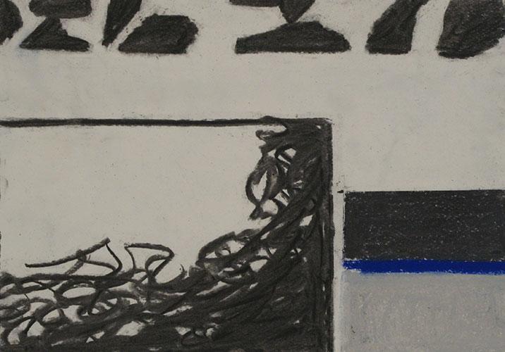 Inge Schenke - Fragments no.4 houtskool en pastel op papier 21 x 29,7 cm € 200,-