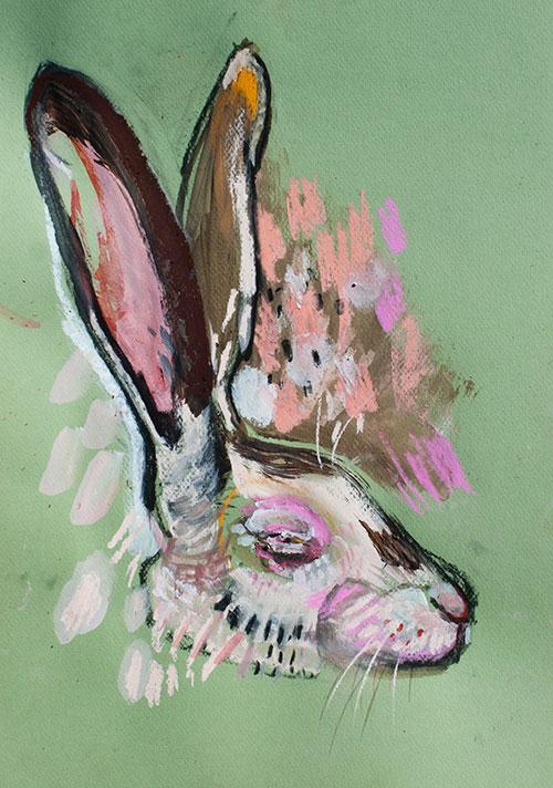 Iris Jansen - Green hare gemengde techniek op papier 42 x 29,7 cm € 350,-