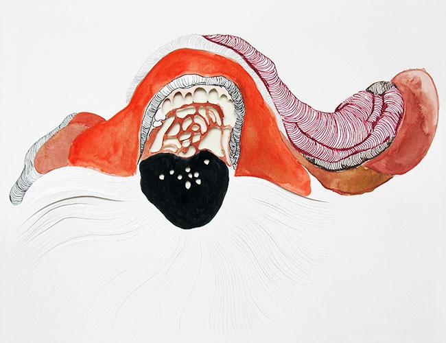 Karin Janssen - Silent Screams in the Valley of Uncanniness #143 inkt, potlood en aquarel op gesneden papier 27 x 35 cm € 570,-