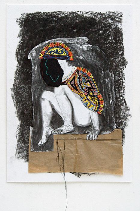 Kevin Nieuwenhuijs - Onnaakt 4 collage, houtskool, kleurpotlood en draad op papier 35 x 25 cm € 360,-