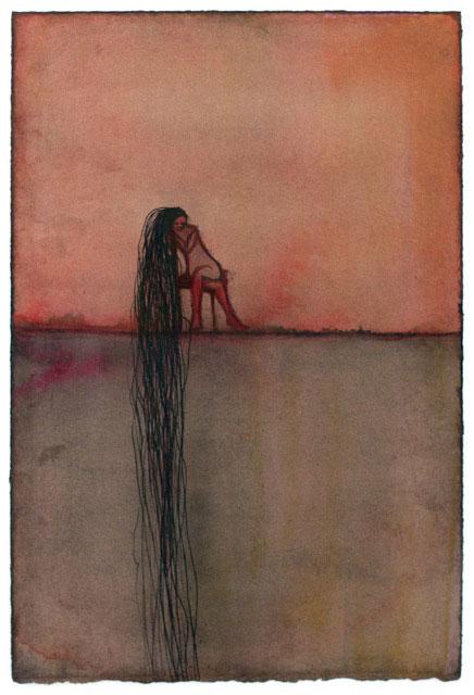 Marina Metaal - Wachten inkt op aquarelpapier 26 x 19 cm € 318,-