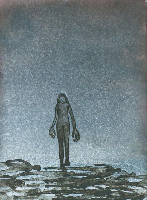 Marina Metaal - Tegen de stroom in inkt op aquarelpapier 26,5 x 19,2 cm € 424,-