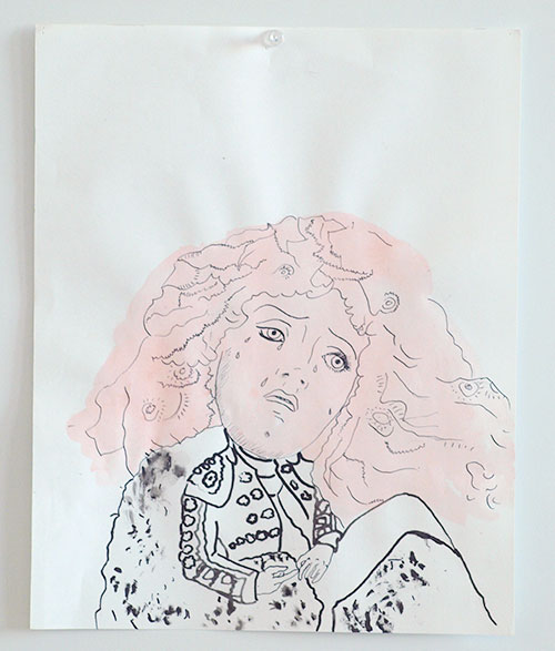Monica Leo - Stierenvechter gemengde techniek op papier 30 x 24 cm € 265,-