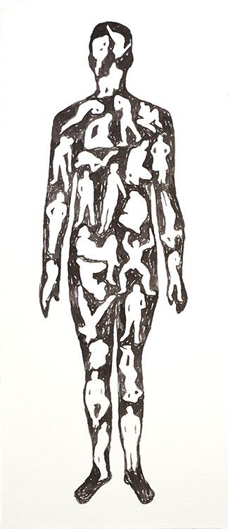 Peter van den Akker - Mensenmens (zwart-wit) pen en inkt op Hahnemühle 400 grams papier 42 x 18 cm € 200,-