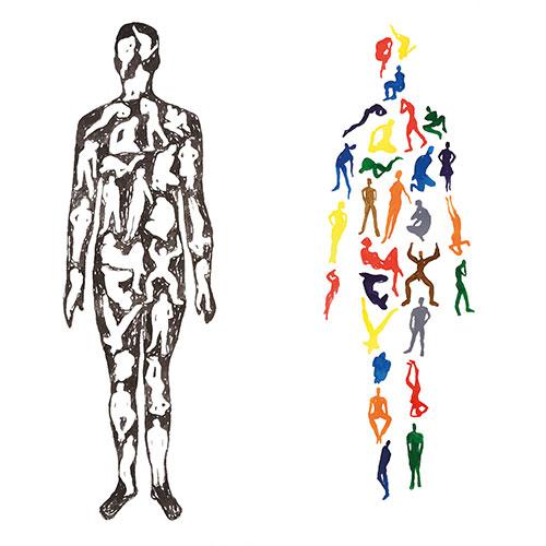 Peter van den Akker: Mensenmens pen en inkt op papier (2 x) 42 x 18 cm