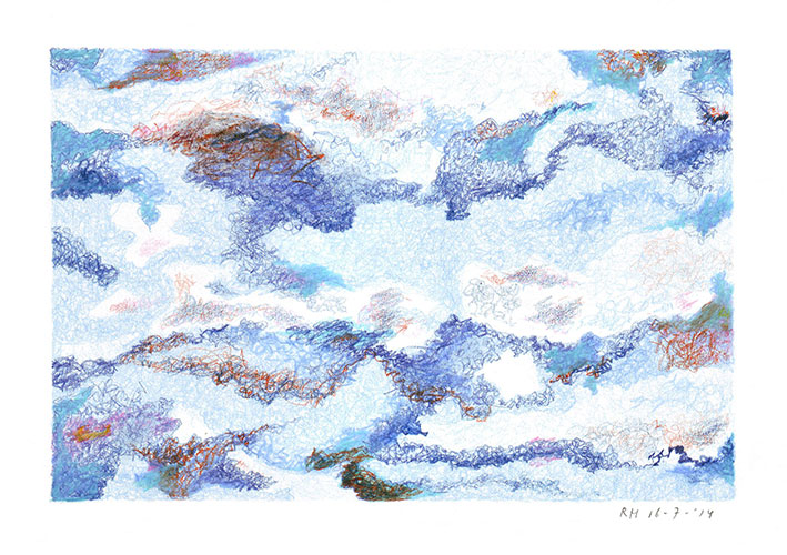 Rik Hagt - Zomeravondlucht kleurpotlood op papier 15 x 21 cm € 175,-