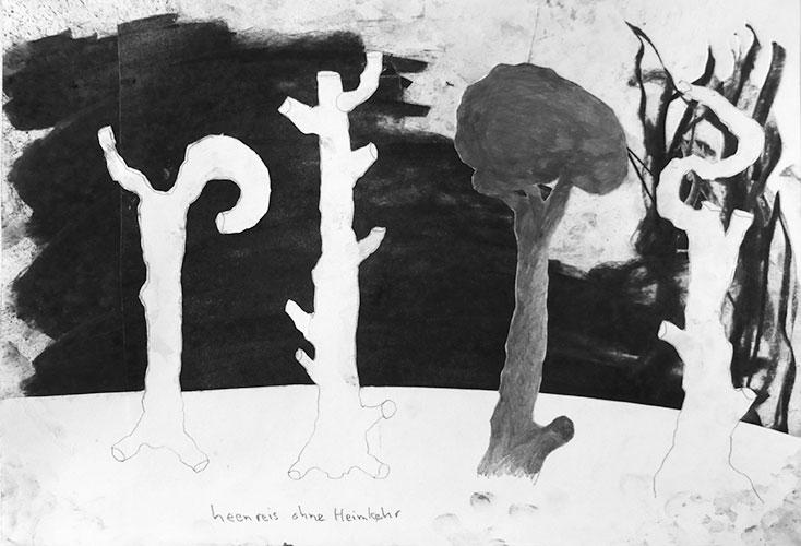 Ronald Ruseler - Heenreis ohne Heimkehr 3 houtskool en potlood op papier 29,5 x 42 cm € 325,-