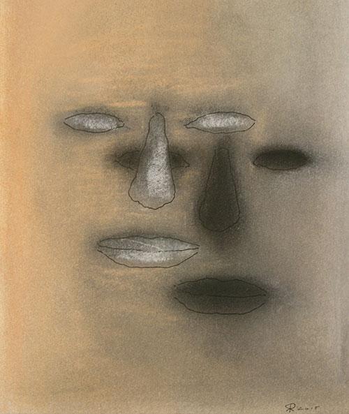 Ruud de Rode - De schaduw van het gezicht pastel en inkt op papier 25 x 22 cm € 700,-