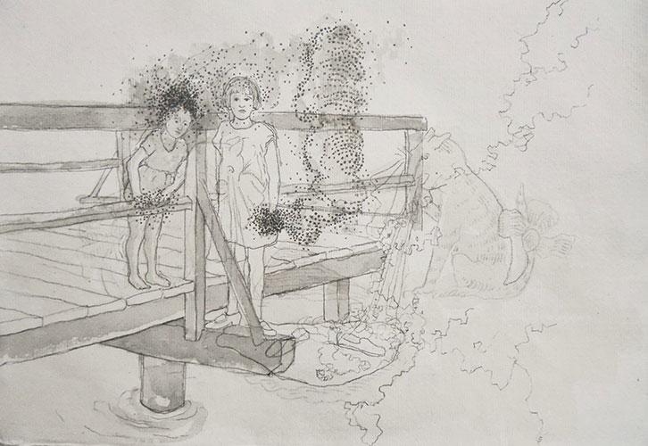 Sabine Liedtke - Minz und Maunz potlood en inkt op papier 21 x 30,5 cm € 200,-
