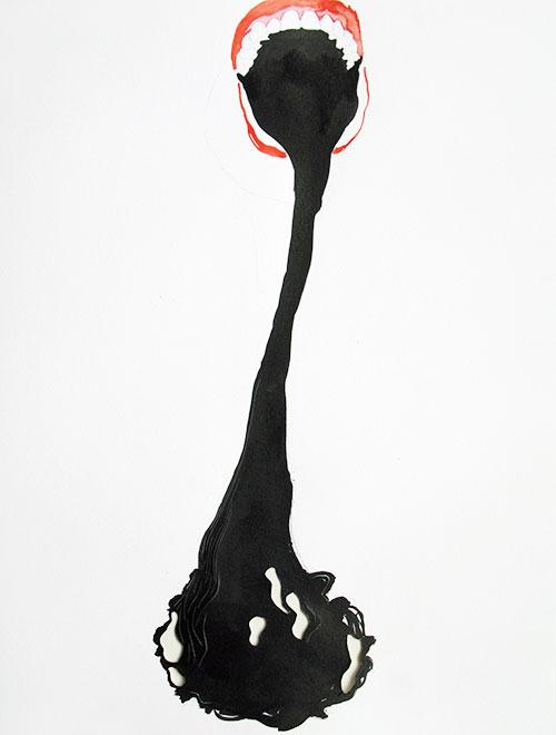 Karin Janssen - Silent Screams in the Valley of Uncanniness #141 inkt, potlood en aquarel op gesneden papier 35 x 27 cm € 570,-