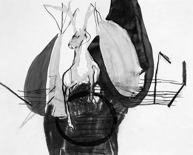 Anna Rudolf - z.t. inkt en houtskool op papier 24 x 30 cm € 520,-