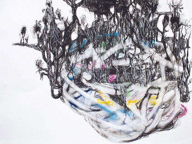 Emmy Bergsma - Connections conté, grafiet & pastel op papier 24 x 32 cm € 350,-