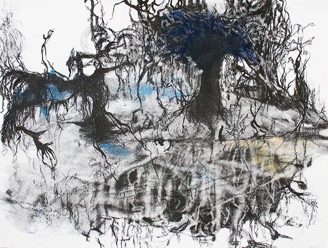 Emmy Bergsma - Connections conte, grafiet & pastel op papier 24 x 32 cm € 350