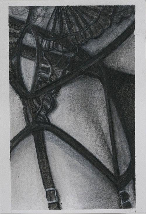 Ingrid Berger - Private Investigations 2 houtskool en inkt op papier 25,4 x 17,7 cm € 300,-