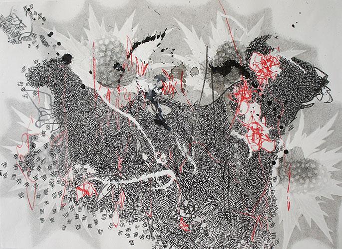 Hinke Bruinsma - z.t. (kleur)potlood, o.i. inkt, acrylinkt op papier 29,5 x 41 cm € 175,-