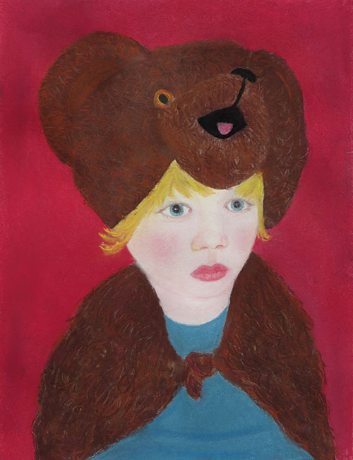 Annelies Schuls - Super bear boy pastelkrijt op papier 32,5 x 25 cm € 350,-