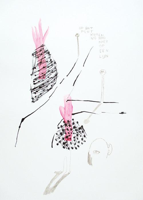 Lieke Peeters - Stad/City nr. 22 inkt, acrylverf en kleurpotlood op papier 42 x 29,5 cm € 400,-