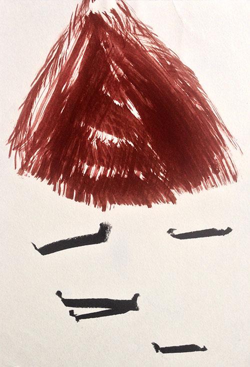 Aal Günther - z.t. eitempera en houtskool op papier 21 x 14,5 cm € 200,-