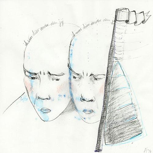 Annechien Verhey - Pas de deux kleurpotlood, aquarel op papier 20 x 20 cm € 200,-